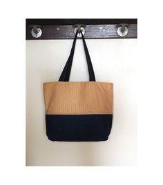 Sac à main en jean et coton japonais saki jaune moutarde / sac shopping / tote bag / style sac cabas