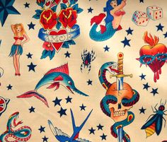Alexander Henry Tattoo Fabric by The Yard Natural Rockabilly