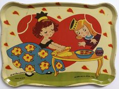 "Vintage 1942 Ohio Art Tin Litho Toy Tea Set B H K Benjamin ""Queen of Hearts"" | eBay"
