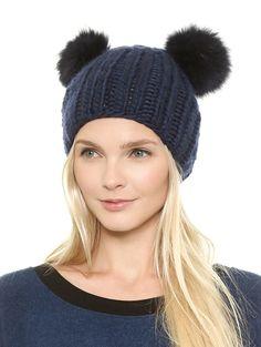 Blue Plush Ball Knit Hat