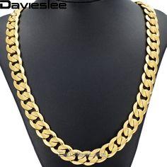 d34f179bd3cd Barato Davieslee Hip-Hop para hombre collar Cuba frenar cadena de oro llena  de joyas