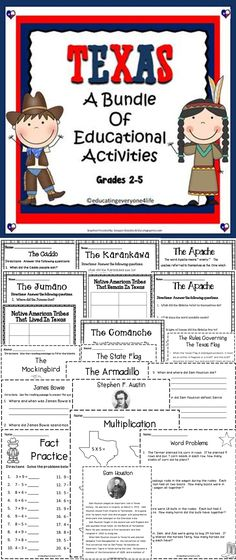 Teach your students all about Texas history with this huge bundle of activities. This Texas Bundle includes social studies, reading, math, and more!