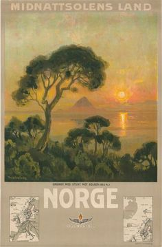 Poster: Norge - Midnattsolens Land Artist: Thorolf Holmboe (1866-1935)