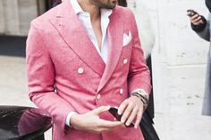 man in pink