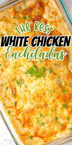 Creamy White Chicken Enchiladas. Flour tortillas stuffed withy cheesy chicken and topped with a creamy white sauce and shredded cheese. The perfect easy Mexican dinner recipe. White Sauce Enchiladas, White Chicken Enchiladas, Best Enchiladas, Campbells Chicken Enchiladas, Easy Chicken Enchilada Casserole, Cheese Enchiladas, Enchilada Ingredients, Enchilada Recipes, Chicken Enchilladas
