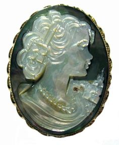 Cameo Pin Pendant Reflection of Youth Mother of Pearl Master Carvedvitalian $127.00  Very pretty face