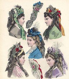 1860s Print Color Plate Victorian Fashion Lady Hats Lace Flower Civil War Era | eBay