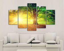 5 Panel Modern Printed Sun Tree Painting Picture Cuadros Decoracion Canvas