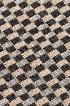 Handwoven Kanaspi Weave rug in black-gray, and white fique fiber with stainless-steel threads. #FiberRug #MetalRug #Tapetes #Rugs #Handwoven #Handmade Black And Grey, Gray, Woven Rug, Weave, Hand Weaving, Fiber, Stainless Steel, Quilts, Rugs