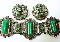 Victorian Revival Bracelet Earrings Set Green by RenaissanceFair