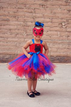 Spiderman Spidergirl Tutu Dress & Mask Costume Set. Great for Superhero Themed Birthdays, Halloween, Family Photos, Props and more on Etsy, $55.00