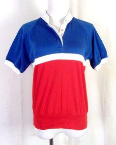 c2abbe595a55db vtg 70s Jc Penney Miss USA Bicentennial 1976 Colorblock Snap Collar Top  Shirt L Miss Usa