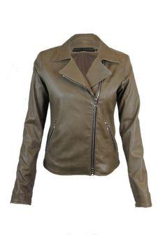 Vent couvert taupe leather biker jacket - Jessimara