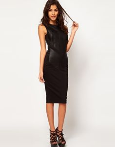 Enlarge ASOS Midi Body-Conscious Dress With Leather Panels
