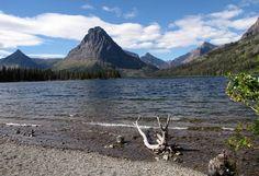 #hiking #montana Shoreline view across Lower Two Medicine Lake, Glacier National Park, Montana, USA