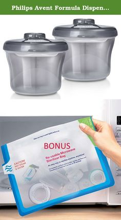Philips Avent Formula Dispenser & Snack Cup, 2 Pack, Grey (Includes BONUS Baby Haven Reusable Steam Sterilizer Bag). Keep formula and snacks fresh and secure while on the go with the Philips Avent Formula Dispenser & Snack Cup. With compartments for three 9 ounce pre-measured formula feeds and a rotating cap that prevents powder spilling into other compartment shells, it is ideal for travel. It simply converts into a handy snack cup. It is also microwave safe, dishwasher safe and can be...