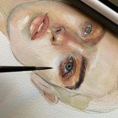 "Ksu on Instagram: ""🍑🍑🍑"" Watercolor Sketch, Watercolor Portraits, Watercolor Illustration, Watercolor Paintings, Art Advisor, Figure Painting, Aesthetic Art, Dark Art, Insta Art"