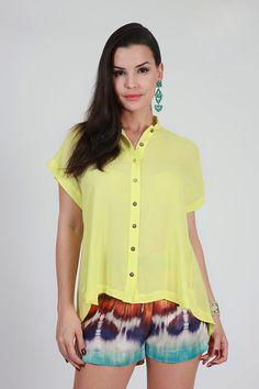 Camisa Detalhe Costas Amarelo Amarelo - Trettiore | Brandsclub.
