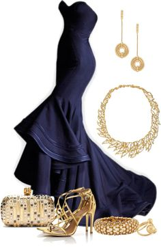 Strapless navy evening dress and gold accents- I normally am not wild about yellow gold but I like this combo with the dress