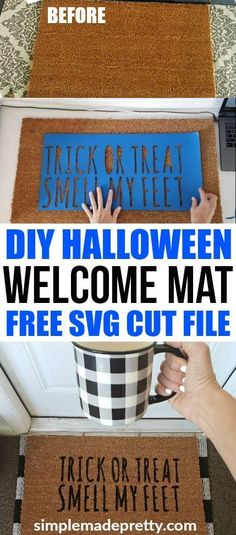 I love this easy DIY Halloween decor idea! Learn how to use your Cricut Explore to make a DIY welcome mat door mat and a funny Halloween welcome mat! Halloween welcome signs front porches | Halloween Welcome mat | diy home decor on a budget | DIY home decor dollar store #fallfrontporchdecor #halloweendecorideas #halloweenhomedecor #cricutcraftideas #cricutsvgfiles via @SMPblog