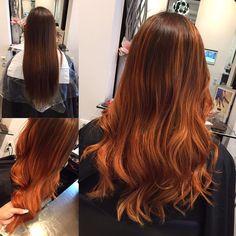 Balayage . Vorher . Nachher . Copper . Kupfer . Long Hair . Lange haare . Waves . wellen