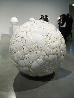 YEESOOKYUNG, Translated Vase-the Moon, 2012, porcelain sculpture, at Museum of Contemporary Art Australia, Sydney, 2012. Photo by Michael Young for ArtAsiaPacific.