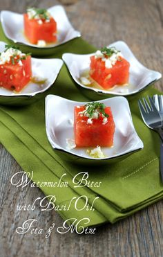 Authentic Suburban Gourmet: Watermelon Bites with Basil Oil, Feta & Mint