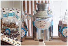 VINTAGE Milk and COOKIES Birthday Party Printable INVITATION - Blue - Milk and Cookies Party Printables - Exclusive Kiss Me Kate Design