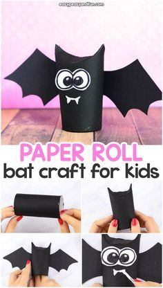 Paper Roll Bat Craft - Great Idea for Halloween Crafting Toilet paper roll bat craft idea for kids. Fun Halloween craft for kids to make with paper rolls.Toilet paper roll bat craft idea for kids. Fun Halloween craft for kids to make with paper rolls. Kids Crafts, Halloween Crafts For Kids To Make, Theme Halloween, Toddler Crafts, Fall Crafts, Halloween Diy, Diy And Crafts, Craft Projects, Decor Crafts
