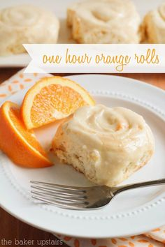 One hour orange rolls - so gooey and delicious! www.thebakerupstairs.com Just Desserts, Delicious Desserts, Dessert Recipes, Yummy Food, Donut Recipes, Health Desserts, Brunch Recipes, Orange Recipes, Sweet Recipes