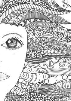 zentangle, doodle, girl, lány