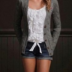 Cozy outfit lazy cardigan ruffle top jean shorts