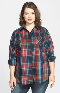 Foxcroft 'Holiday Tartan' Shaped Shirt (Plus Size)