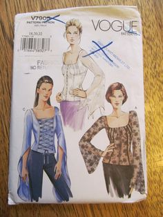UNCUT Sewing Pattern - Elegant Goth and Lolita Corset Top with Flutter Sleeves - Vogue 7905 - Plus Size 18 - 20 - 22