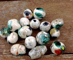 Snap Dragon and Copper Patina Raku Beads 002 by AriGarDesigns