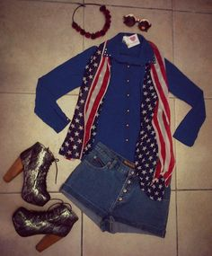 Look of the day... Lolita rose headband - R150 Sunglasses - R150 Mignon Fashion stars & stripes scarf - R120 Mignon Fashion studded chiffon shirt - R180 Mignon Fashion denim shorts - R180 Cottage Clothing lace boots - R350