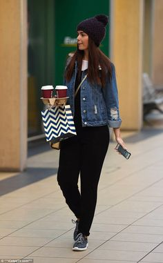 Filling up: The Mercedes McQueen actress toted a couple of cups of takeaway coffee for the...