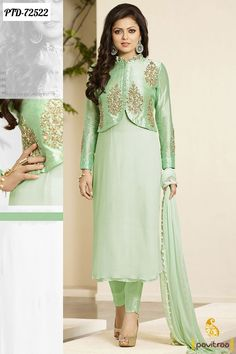 Get in sync with new fashionista as drashti dhami, with this sea green silk designer suit. Fancy embroidered patterns on the suit completes the look (slight variation in fabric, work and color is poss. Party Wear Indian Dresses, Pakistani Fashion Party Wear, Designer Party Wear Dresses, Indian Gowns Dresses, Kurti Designs Party Wear, Pakistani Dress Design, Indian Designer Outfits, Kurta Designs, Pakistani Dresses