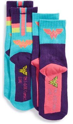 DC Comics 'Super Hero - Wonder Woman' Crew Socks (2-Pack) (Little Kid & Big Kid) - Argh! Wish these came in adult size.
