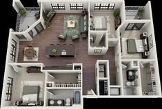 3 bedroom design 3 bedroom house interior design plan floorplan plano in 3 Bedroom Floor Plan, Bedroom House Plans, Apartment Layout, Apartment Design, Bedroom Apartment, Apartment Ideas, Green Apartment, Apartment Plants, Apartment Interior