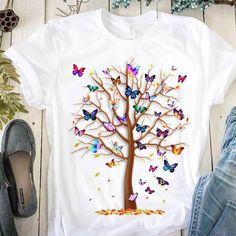 Harajuku, Blusas T Shirts, Tee Shirts, Butterfly Tree, Butterflies, Butterfly Gifts, Butterfly Print, T Shirt Designs, Tree Print