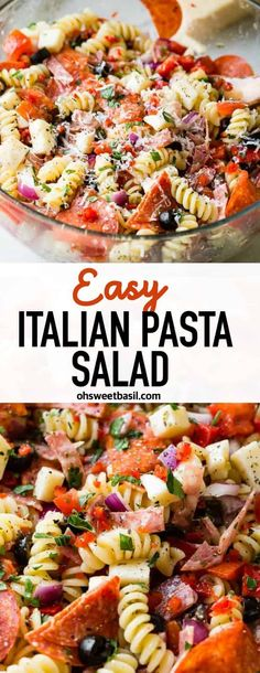 EASY ITALIAN PASTA SALAD - There's something about pasta salad recipes and summertime that just make the world happy. Our Easy Italian Pasta Salad recipe has a homemade Italian dressing, meat, cheese and veggies! Yummy Recipes, New Recipes, Cooking Recipes, Easy Italian Recipes, Italian Salad Recipes, Recipies, Basil Recipes, Cooking Cake, Drink Recipes