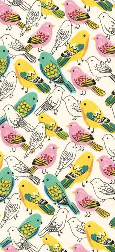Image about wallpaper in 💎💎💎💎fondos💎💎💎💎 by K e l l y Bird Wallpaper, Pattern Wallpaper, Iphone Wallpaper, Accent Wallpaper, Drawing Wallpaper, Motifs Textiles, Textile Patterns, Bird Patterns, Pretty Patterns