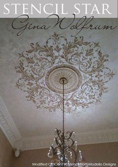 Custom variation of a Modello® Designs Ornamental Center Stencil (OrnCen190) by Gina Wolfrum of Elegant Finishes by Gina for this incredible ceiling.