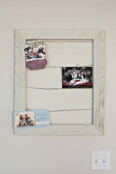Christmas Card/photo Holder   Frame, Wire And Tiny Clothespins