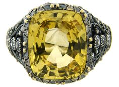 c.1950s MARIO BUCCELLATI YELLOW SAPPHIRE DIAMOND 18k GOLD RING Signed Gorgeous #MarioBuccellati #Cocktail