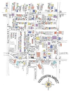 Hand-drawn map of Kensington Market that I wanted to buy when I was there but no room in the backpack!