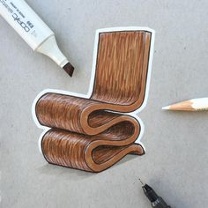 A Month of Chairs Wiggle Chair by Frank Gehry Have any ideas for chairs? Interior Design Sketches, Industrial Design Sketch, Sketch Design, Interior Rendering, Design Design, Simple Furniture, Furniture Design, Furniture Showroom, Steel Furniture