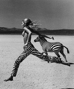 Tatjana and zebra, Beauty and Beast by Michel-Comte-1996