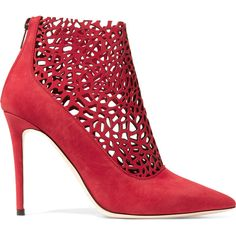 Jimmy Choo Maurice laser-cut suede boots (€860) ❤ liked on Polyvore featuring shoes, boots, ankle booties, pumps, scarpe, red zipper boots, pointed toe booties, suede booties, red suede boots and red stilettos